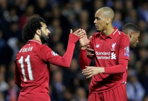 Mohammed Salah celebrates with Fabinho